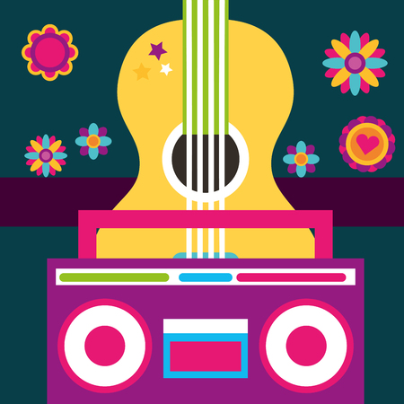 free spirit guitar and radio retro vintage flowers vector illustration