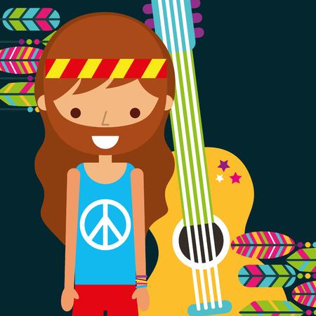 hippie man with guitar musical retro vector illustration Illustration