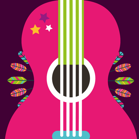pink guitar instrument retro feathers decoration vector illustration Иллюстрация