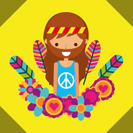 hippie man free spirit in love heart flowers vector illustration