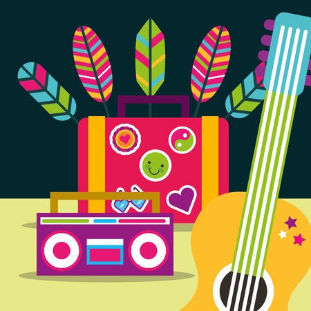 guitar and radio suitcase feathers free spirit vector illustration Illusztráció