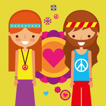 hippie woman and man peace and love heart love vector illustration Иллюстрация