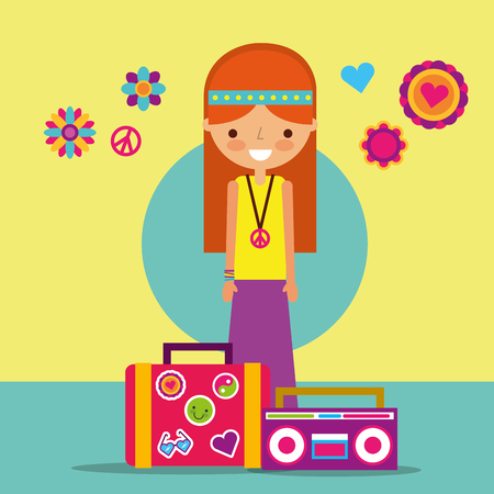 hippie woman with suitcase and radio free spirit vector illustration