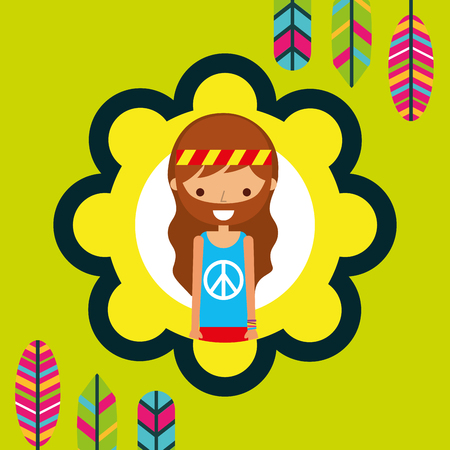 hippie man feathers bohemian free spirit vector illustration