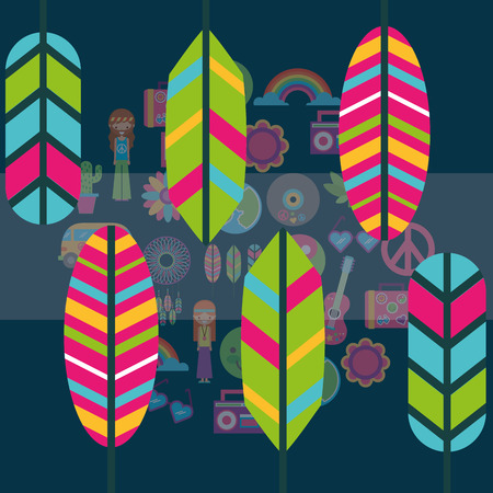 multicolored feathers hippie boho retro free spirit vector illustration