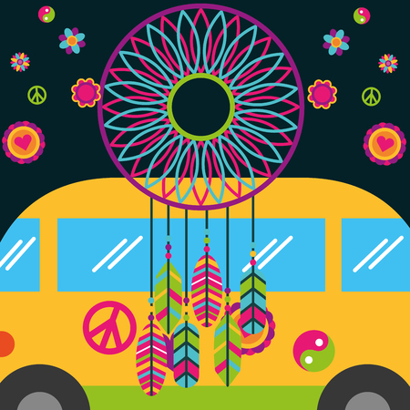 free spirit van and dream catcher feather flowers vector illustration Illustration