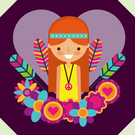 hippie woman free spirit in love heart flowers vector illustration Banco de Imagens - 111906530
