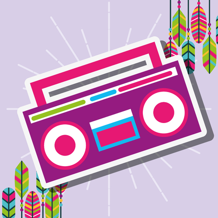 pink radio stereo retro feathers free spirit vector illustration