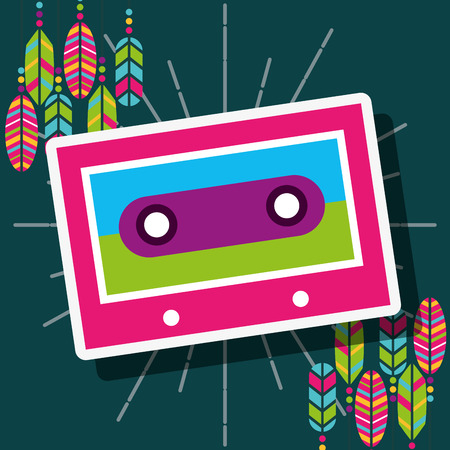 cassette stereo retro feathers free spirit vector illustration