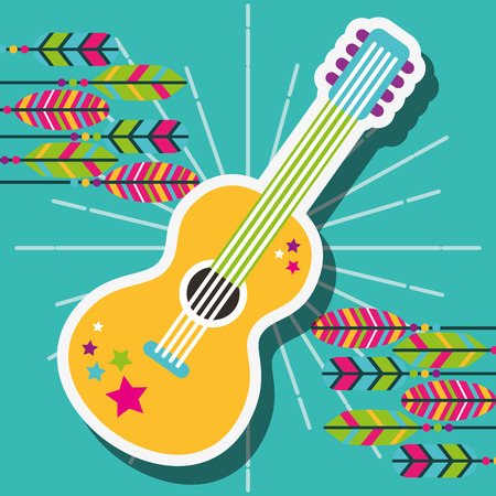 retro guitar with stickers and feathers free spirit vector illustration Ilustrace