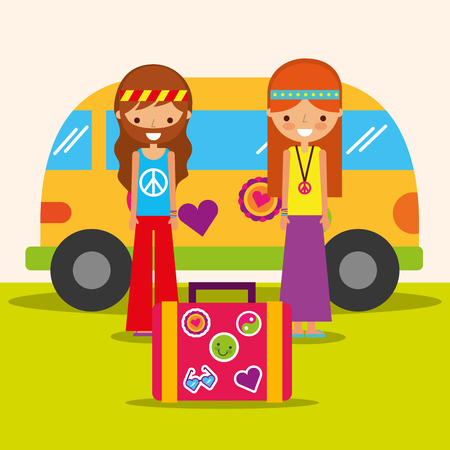 hippie woman and man with van and suitcase free spirit vector illustration
