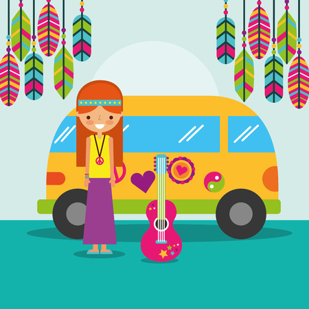 hippie woman guitar and van bohemian free spirit vector illustration