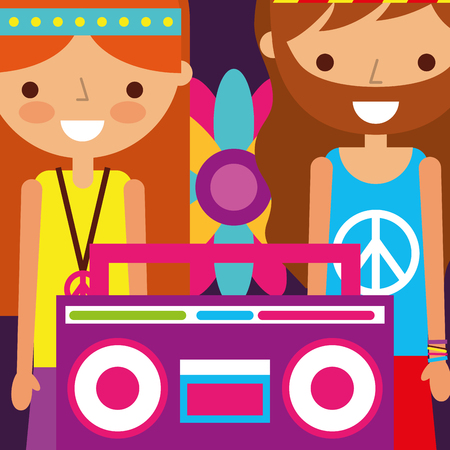 hippie man and woman flower and radio retro free spirit vector illustration Ilustrace