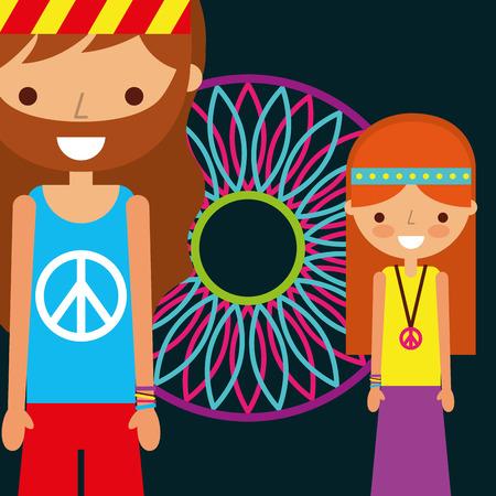hippie man and woman dream catcher free spirit vector illustration Ilustração