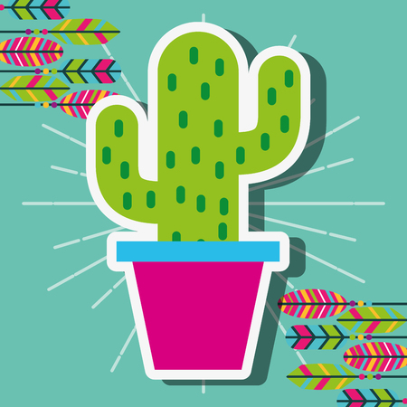 potted cactus decoration feathers vintage vector illustration