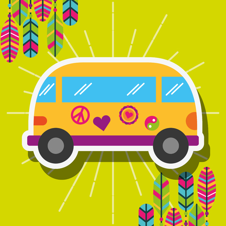 retro van car with stickers and feathers free spirit vector illustration 矢量图像