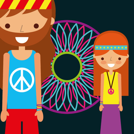hippie man and woman dream catcher free spirit vector illustration Stock Photo