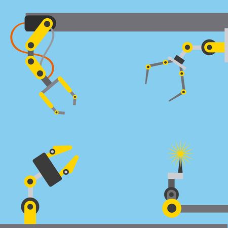 automotive industry robotic arms differents options vector illustration Illustration