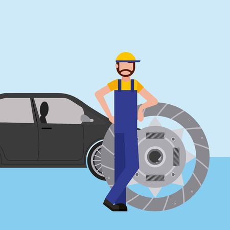 mechanic with clutch plate auto repair service  vector illustration Çizim