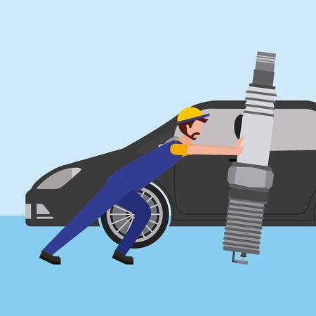 beard mechanic pushing spark plug car part  vector illustration