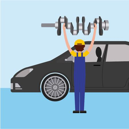 auto mechanic with cam tree spare part  vector illustration