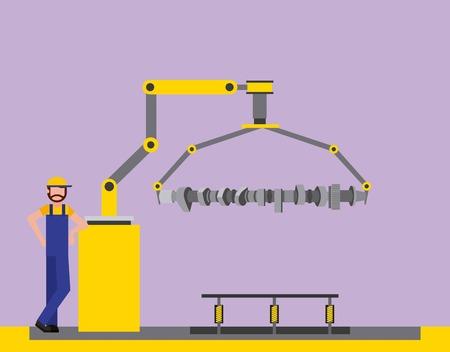 Operador de fábrica automotriz brazo robótico biela ilustración vectorial Ilustración de vector