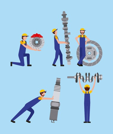 automotive industry workers with differents spare parts car vector illustration