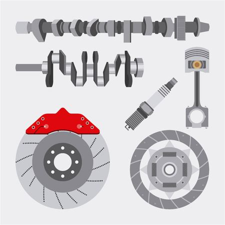 automotive industry spare parts repair equipment car vector illustration