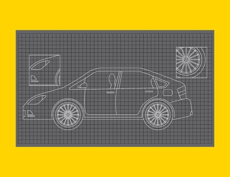 car schematic or car blueprint paper technical drawing vector illustration Ilustração