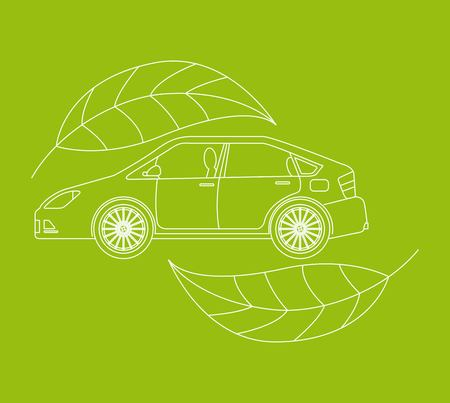automotive industry car vehicle ecology environmental vector illustration  イラスト・ベクター素材
