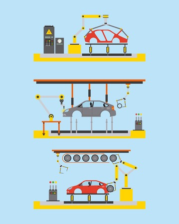 car production plant process step automatic robot works vector illustration
