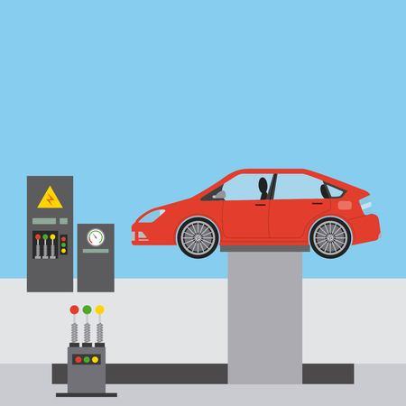 illustrazione di vettore di linea di produzione robotica industriale di assemblaggio di automobili Vettoriali
