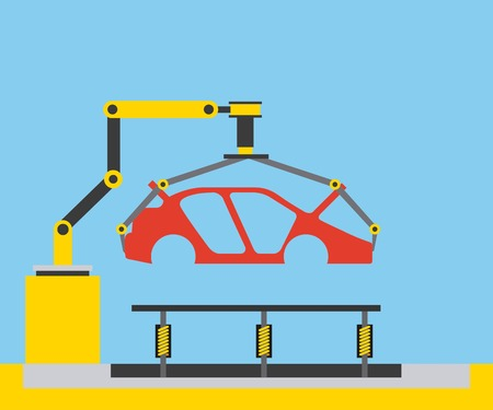 body of car on the assembly line the conveyor vector illustration