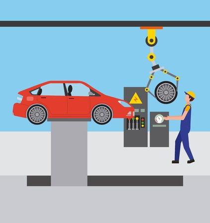 automotive industry operator robotic arm wheel vector illustration Ilustração