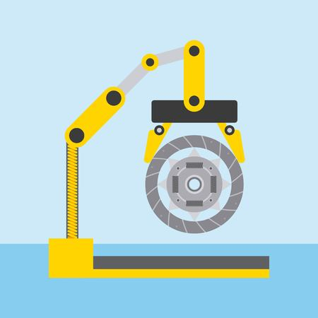 automotive industry robotic arm with clutch disc vector illustration