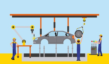 body of car on the assembly line the conveyor at the factory  vector illustration Vectores