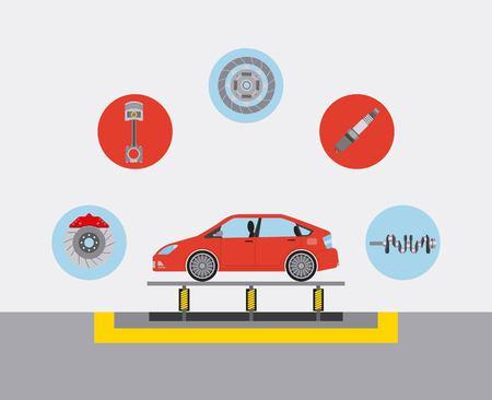 automotive industry car production conveyor spare parts vector illustration