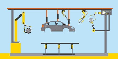 automotive industry body car production conveyor robotic hands vector illustration
