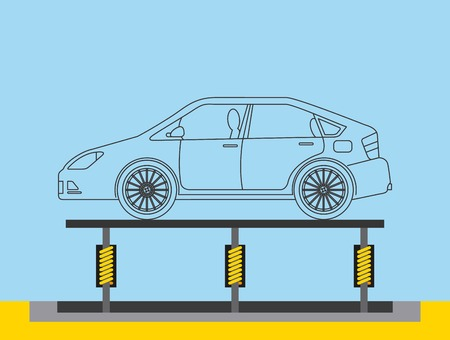 automotive industry body car production conveyor vector illustration  イラスト・ベクター素材