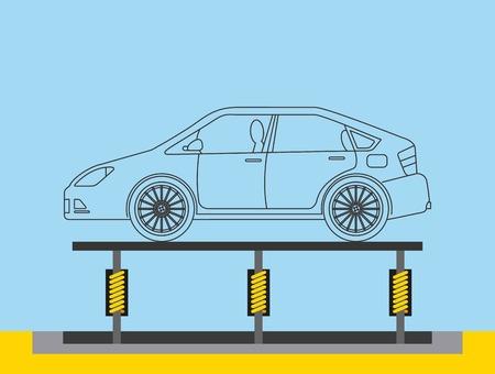 Ilustración de vector de transportador de producción de carrocería de la industria automotriz
