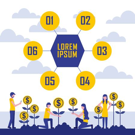 people plants growth coins profit infographic business vector illustration