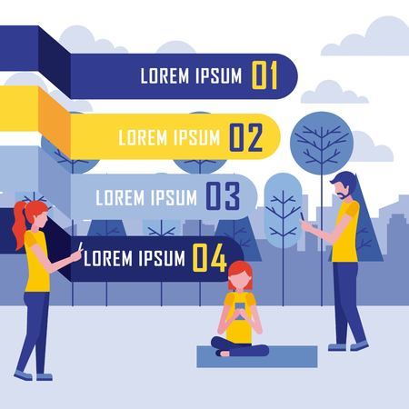 people using smartphone in landscape infographic business vector illustration