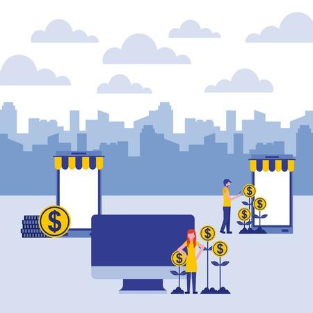 businesspeople computer smartphone coins money plants vector illustration vector illustration