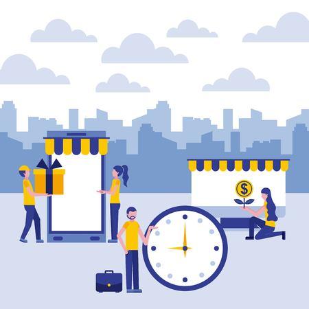 people business clock smartphone finance computer vector illustration vector illustration