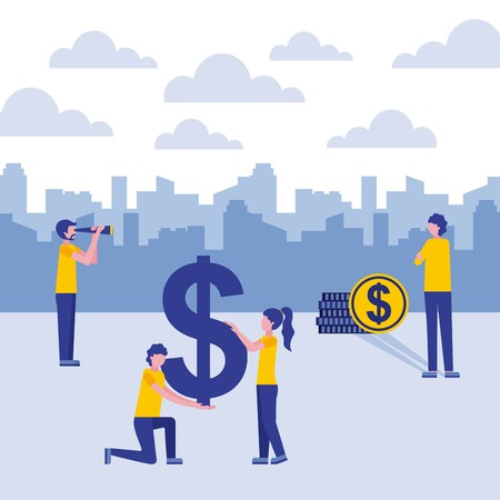 businesspeople with binoculars money coin dollar vector illustration vector illustration Illustration