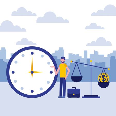 businessman clock scale coin business vector illustration Ilustracja