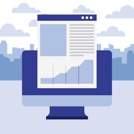 Ilustración de vector de negocio de gráfico de informe de documento de computadora Ilustración de vector