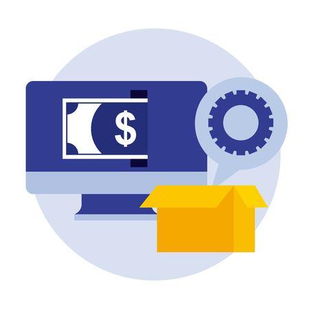 computer banknote cardboard box gear business vector illustration
