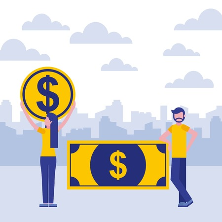 woman holding coin and man with banknote business vector illustration