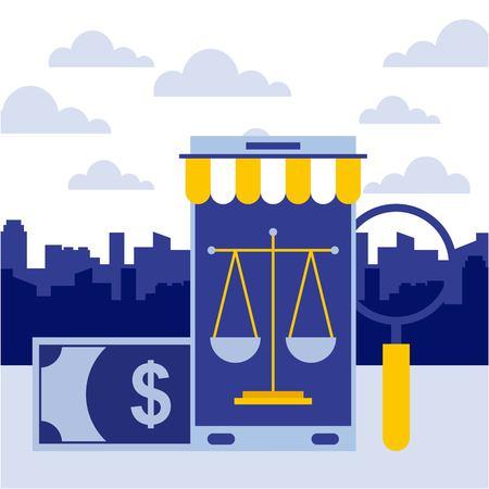 smartphone banknote magnifying glass online business vector illustration Banco de Imagens - 106706145